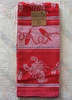 Lobster Jacquard Tea Towel Red Lobster Pattern Kay Dee Cotto