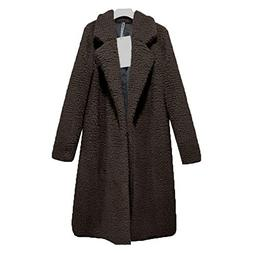 Women Long Faux Fur Jackets Lapel Teddy Bear Cardigan Lamb W