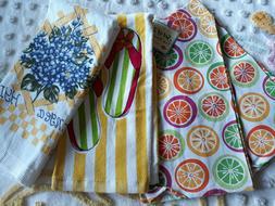 Lot 4 NEW Ritz Kitchen Cttn Towels Bright Citrus Stripe Flip