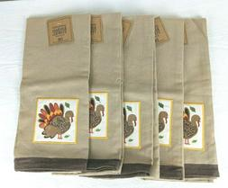 Lot 5 DII Design Imports Thanksgiving Kitchen Towels Embroid