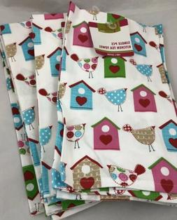 Lot of 10 Cotton Kitchen Tea Towels Bird Houses Birds Spring