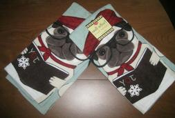 LOT of 2 Fawn Pug Dog Kitchen Hand Towels Cotton NEW NWT Win