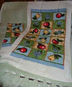 LOT OF 2 MATCHING KITCHEN TOWELS FRUITS MULTI COLORS--NEW WI