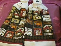LOT OF 2 NEW HANDMADE CROCHETED KITCHEN TOWELS COFFEE CUPS/P
