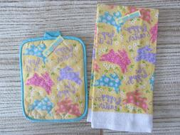 Lot of ~EASTER KITCHEN TOWELS & TABLE MATS-Bunnies Eggs Flow