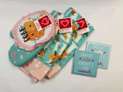 Love Kitchen Towel Bundle with 2 Towels Pot Holder and Oven
