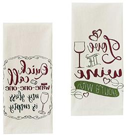 Love Wine and Wine One One Funny Sayings Flour Sack Towel Se