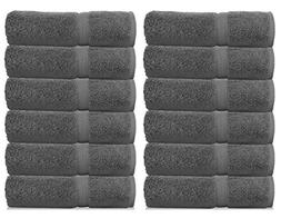White Classic Luxury Grey Washcloths for Bathroom-Hotel-Spa-