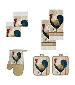 Medallion Country Rooster Kitchen Linen Set 7 Pc Towel Pot H