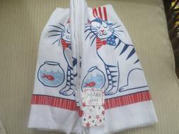 Ritz Memorial Day July 4  America Patriotic Cat White Kitche