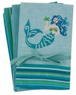 Mermaid Coastal Embroidered 3 Pc Chambray Cotton Kitchen Tea