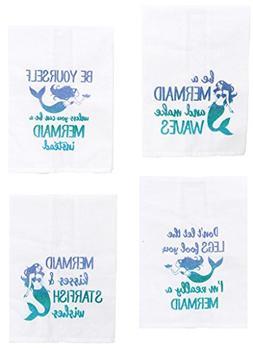 Mermaid Sayings Glitter Kitchen Towels - Set of 4