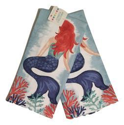 Ritz Mermaid Watercolor Kitchen Towels Set of 2 Sea Beach