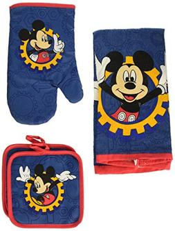 Disney Mickey Mouse Blue Gear 4-pc Kitchen Set: Towel, Oven