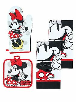 Disney Minnie Mouse 4-Piece Kitchen Set Dish Towels Pot-Hold