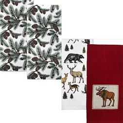 St. Nicholas Square Moose and Pine Cone Kitchen Towel Set Of