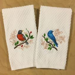 Mountain Bluebird & American Robin Embroidered White Kitchen