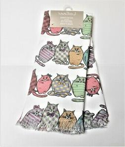 Ladinne Multi-Color Cats Set of 2 Kitchen Oversized Towels T