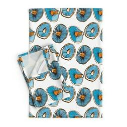 Mushroom Kitchen Food Drawing Linen Cotton Tea Towels by Roo