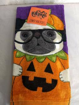 NEW Ritz 2 Pack Halloween Kitchen Towels Pug Jack-O-Lantern