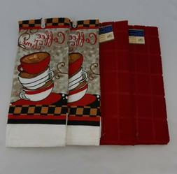 NEW 2 Red & 2 Coffee Themed Kitchen Dish Hand Towels Windowp
