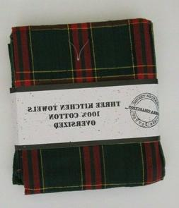 NEW 3 SIERRA COLLECTION Green Red Plaid Christmas Kitchen To