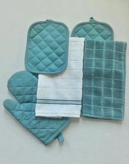 NEW- AQUA & WHITE -5 PC KITCHEN TOWEL SET- 2 TOWELS-2 POTHOL
