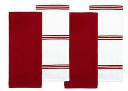 New Sticky Toffee Cotton Terry Kitchen Dish Towel, Red, 4 Pa