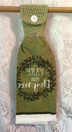 New Handmade Crochet Green Cotton Kitchen Hand Towel Holder
