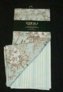 New Ralph Lauren Designer Kitchen Towels Set 2 Blue Floral S