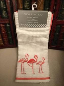 NEW Flamingo Birds Kitchen Towels Coronet Home White and Pin