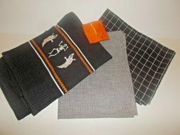 NEW HALLOWEEN SET OF 3 KITCHEN TOWELS GHOST SKELETON CHECKS