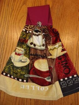 New Hand Crafted Coffee Fold Over Cotton top Kitchen Towel
