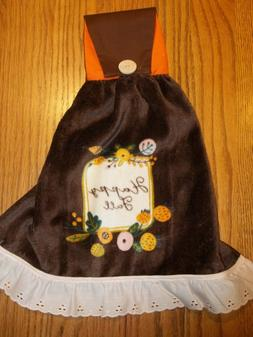 New Hand Crafted Happy Fall Fold Over Cotton top Kitchen Tow