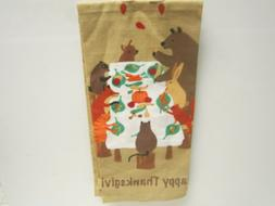 New Happy Thanksgiving Animals At Table 2 Kitchen Towels Set