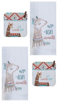 New Kay Dee Designs 4 Piece Kitchen Towel Set, Lovely Llama