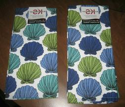 NEW Ritz Kitchen Towels Seashells Blue Green White Teal NWT