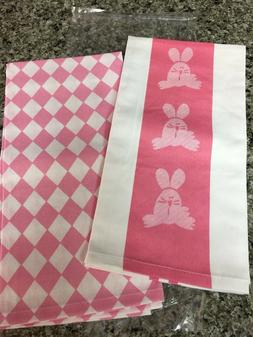NEW Set of 2 Wimpole Street Kitchen Towels Pink Bunny & Diam