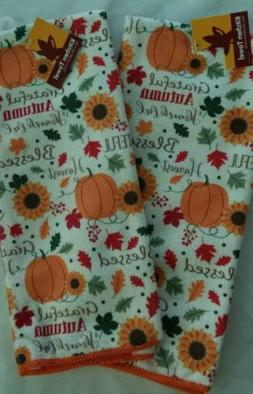 NEW SET OF 2 KITCHEN TOWELS PUMPKIN FALL HARVEST ORANGE SUNF
