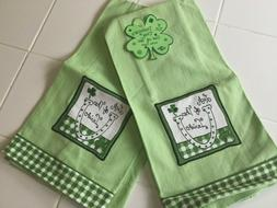 Ritz NEW Set Of 2 St. Patrick's Day Kitchen Towels Green Luc