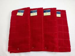 NEW Set of 4 Kitchen Dish Hand Windowpane Towels Solid Red C