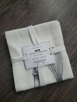 New Williams-Sonoma Whisk Print Kitchen Towels 100% Cotton W