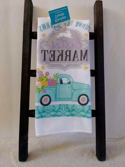 NEW WITH TAG SPRING Easter Kitchen Towel Truck Farmhouse Mar