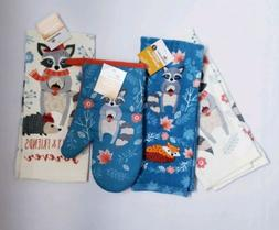 NWT Celebrate Harvest Racoon 4-pc Kitchen Towels & Oven Mitt