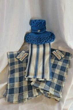 NWT Hanging Kitchen Dish Towels W/Crochet Top Holder Country