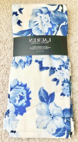 NWT Ralph Lauren Set of 2 Kitchen Towels Delft Blue White Fl