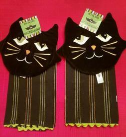 Nwts 4 Pc Ritz Halloween Black Cat Kitchen Towel / Pot Holde