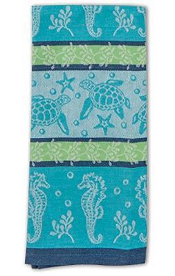 Ocean Blue Coastal Sea Life Jacquard Design Kitchen 28 Inch