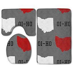 Oh-Io State Gray 3 Piece Bath Mat Set Toilet Rug Bathroom Co