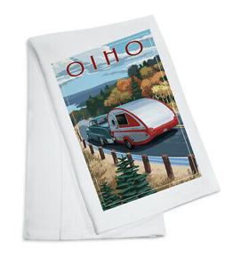 Ohio Retro Camper on Road - Lantern Press Artwork